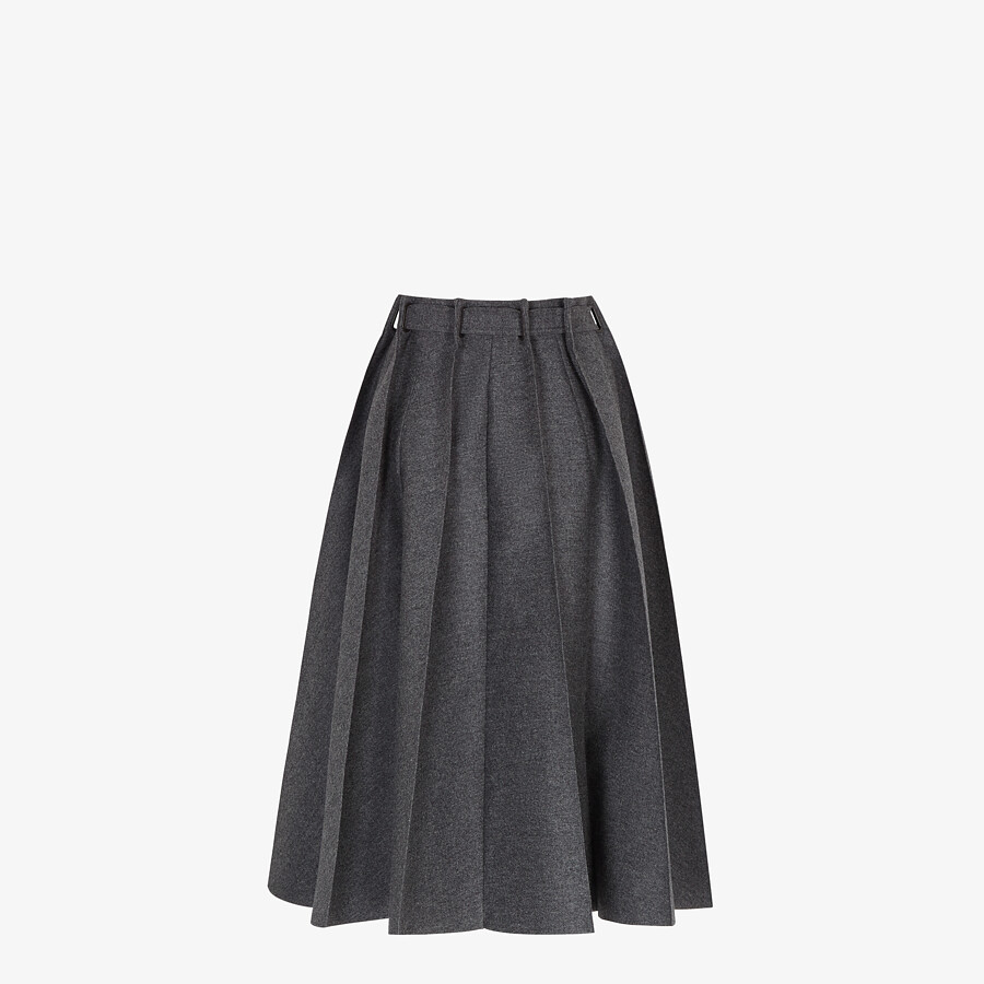 FENDI SKIRT - Gray cashmere and flannel skirt - view 2 detail