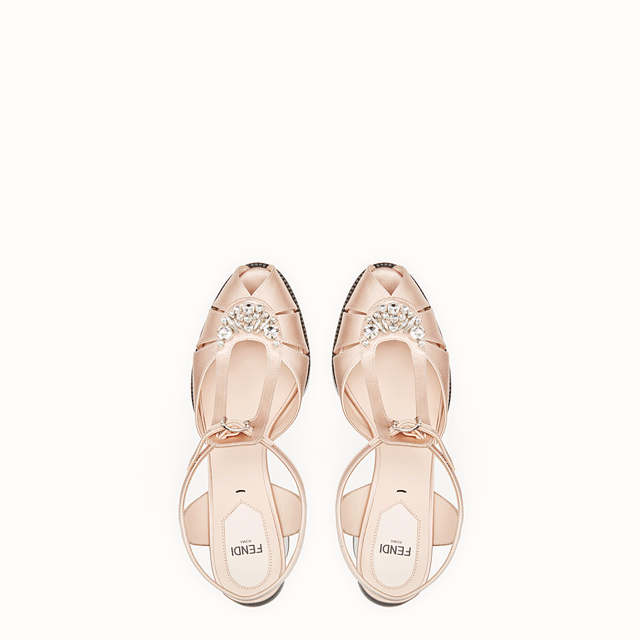 FENDI SANDALS - Pink satin sandals - view 4 detail