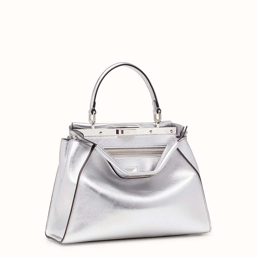 FENDI PEEKABOO ICONIC MEDIUM - Silver leather bag - view 2 detail