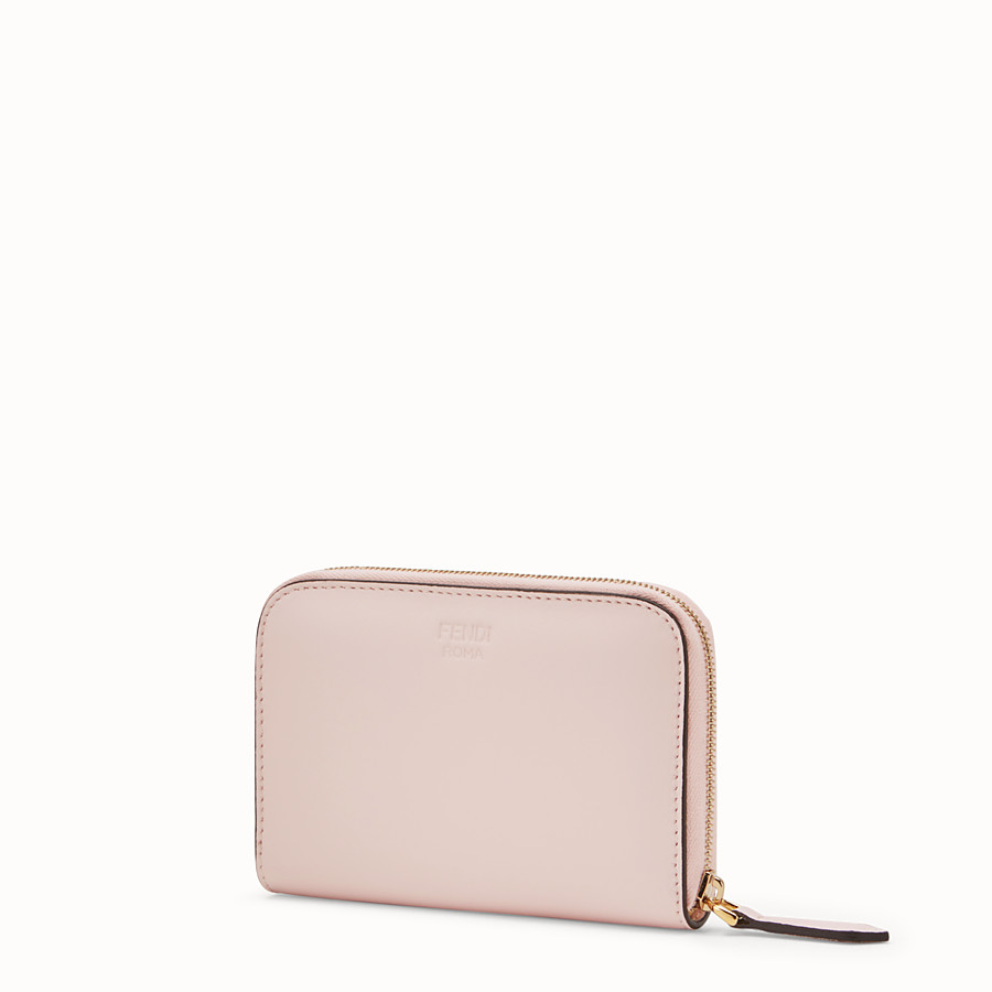 FENDI SMALL ZIP-AROUND - Pink leather wallet - view 2 detail