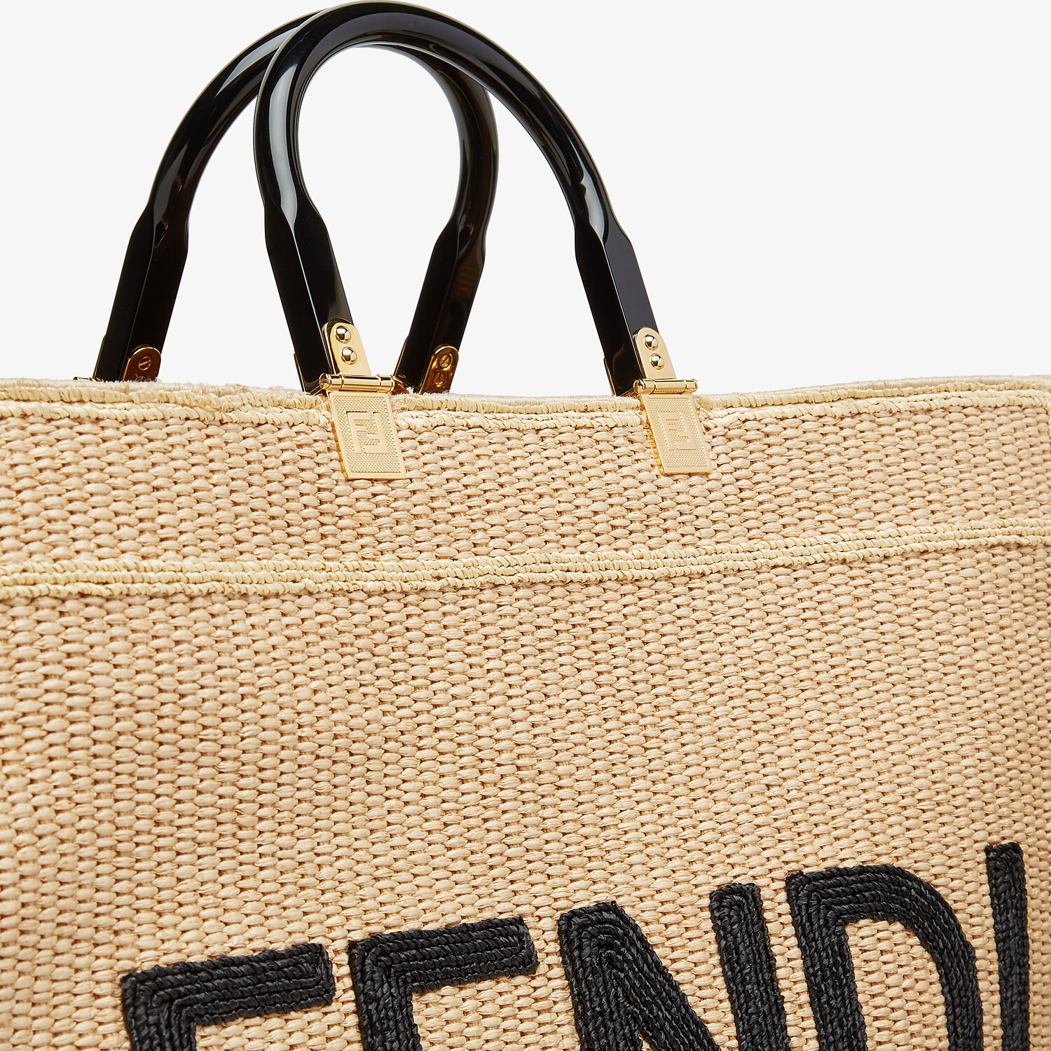 FENDI FENDI SUNSHINE LARGE - Woven straw shopper - view 6 detail