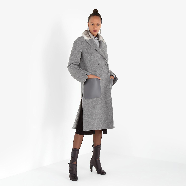 FENDI COAT - Grey double-sided wool coat - view 4 detail