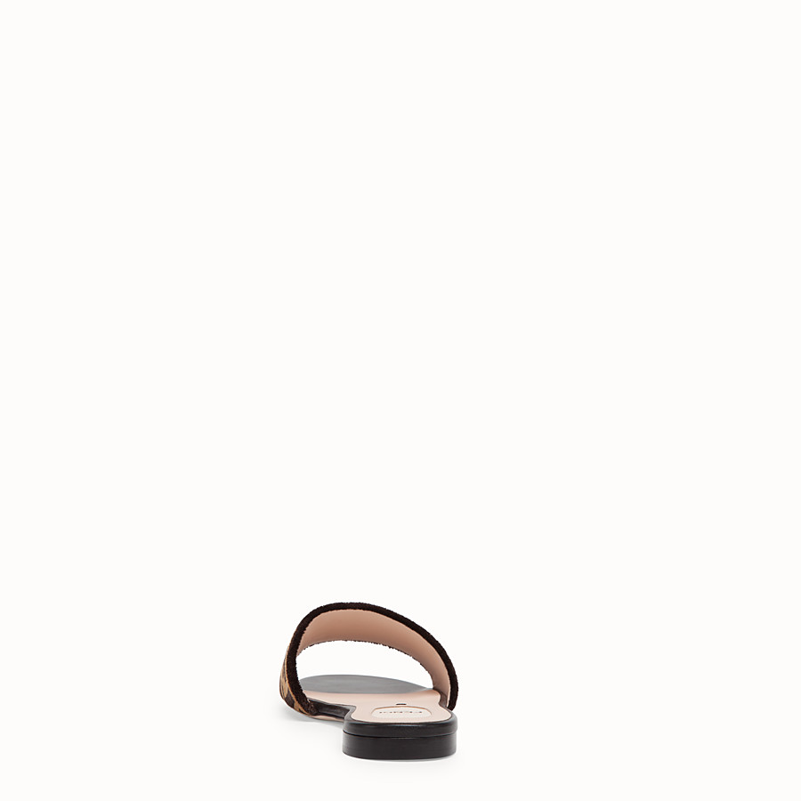 FENDI FLAT SANDALS - Multicolour leather and fabric slides - view 3 detail