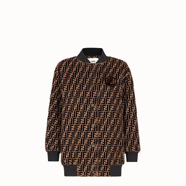 FENDI JACKET - Brown silk jacquard bomber jacket - view 1 small thumbnail