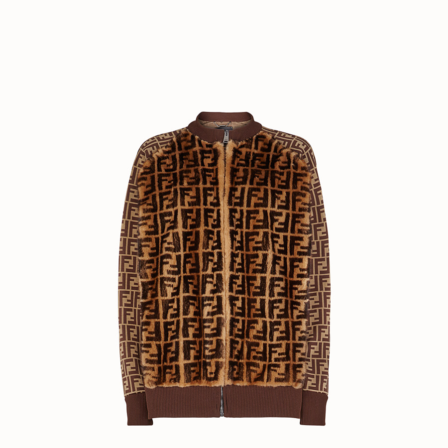 FENDI JUMPER - Brown fabric and fur jumper - view 1 detail