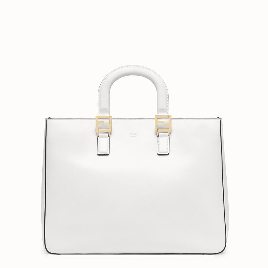 FENDI FF 中型手提袋。 - 白色皮革手袋 - view 1 detail