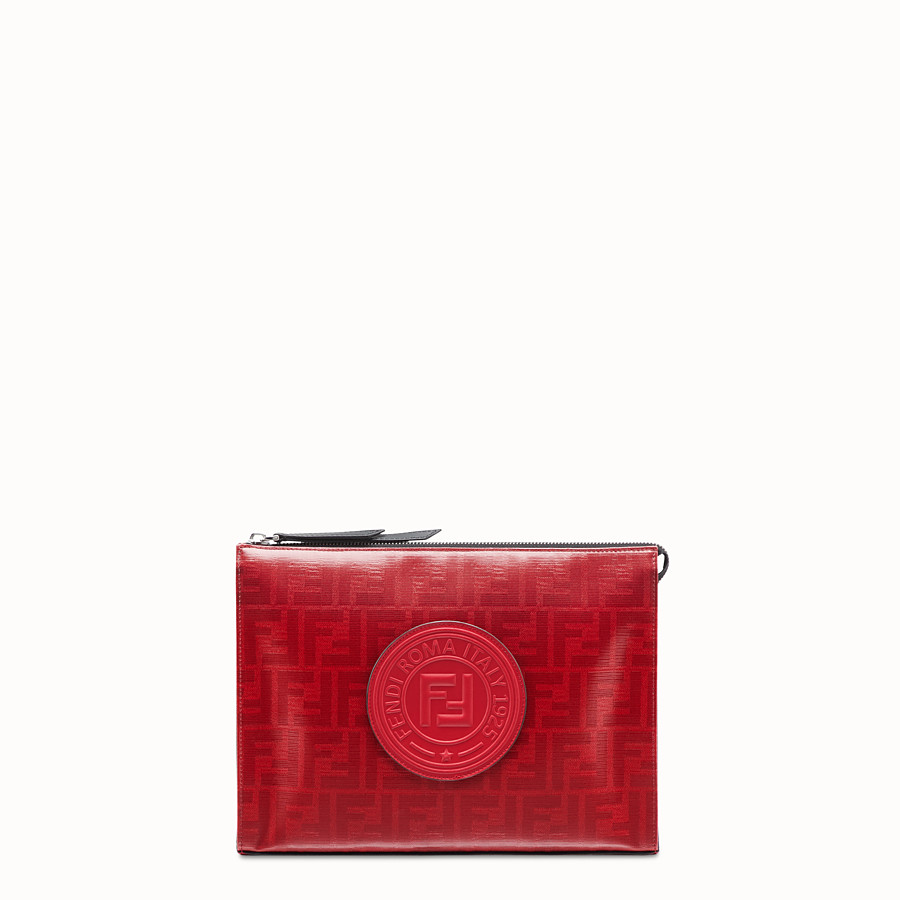 FENDI CLUTCH - Red fabric pochette - view 1 detail