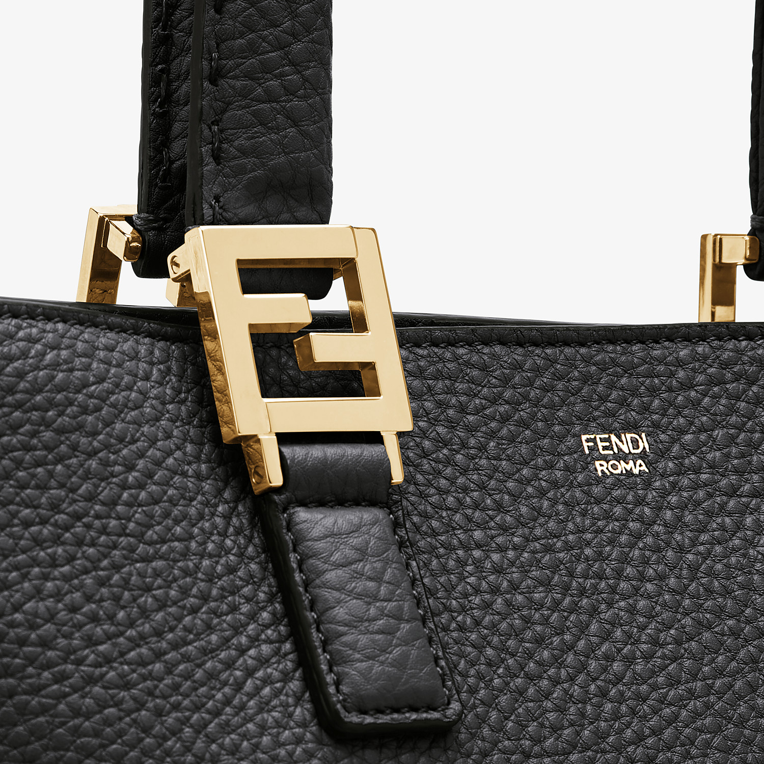 FENDI FF TOTE SMALL - Black leather bag - view 6 detail