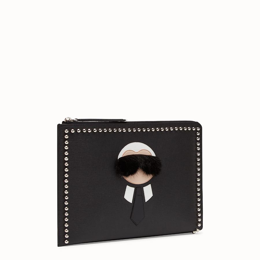 FENDI CLUTCH - in black leather with inlay - view 2 detail