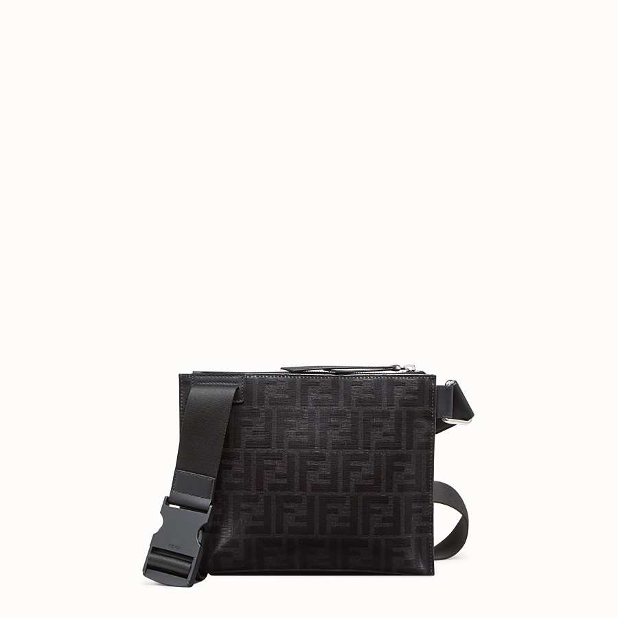 FENDI MESSENGER - Black fabric pochette - view 3 detail