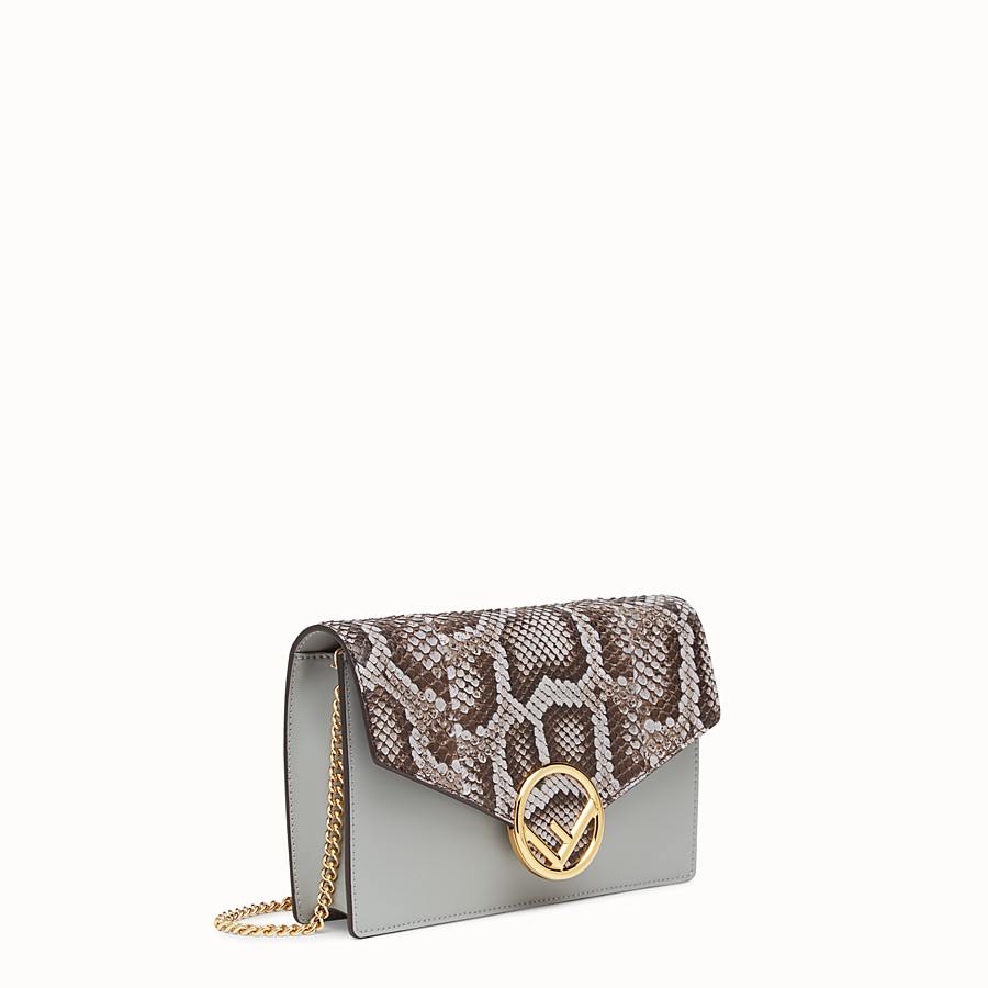 FENDI WALLET ON CHAIN - Minibag in pelle grigia ed esotico - vista 2 dettaglio