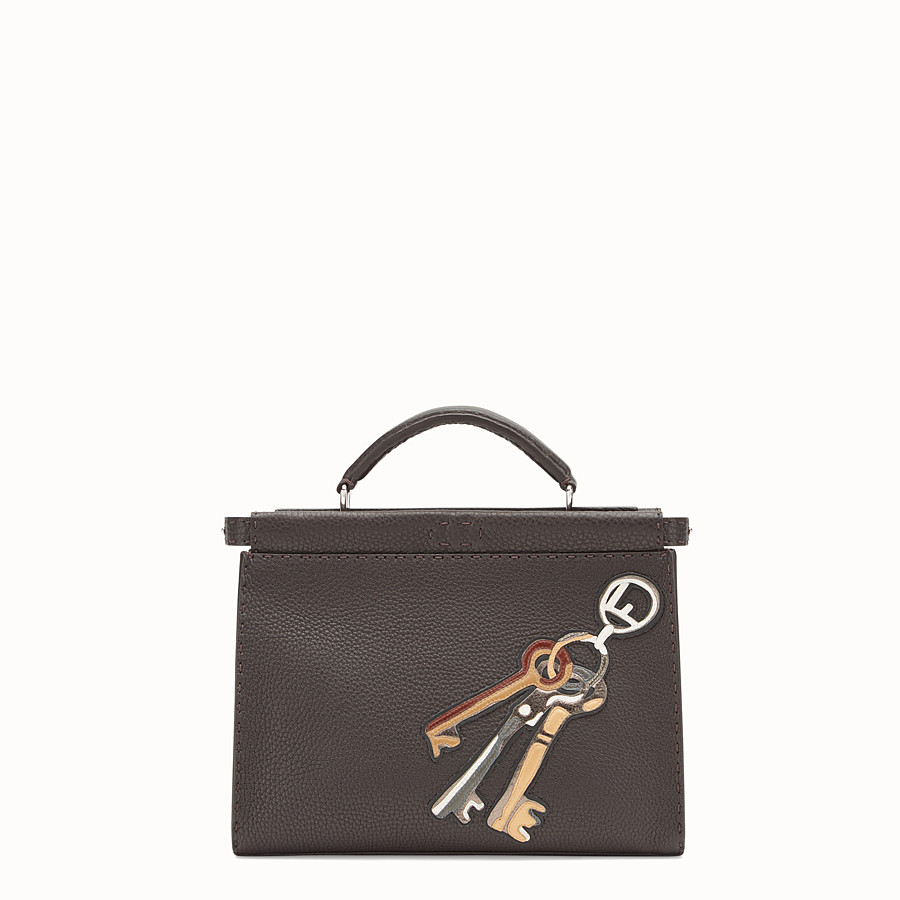 FENDI 迷你款式PEEKABOO FIT - 棕色皮革手袋 - view 1 detail