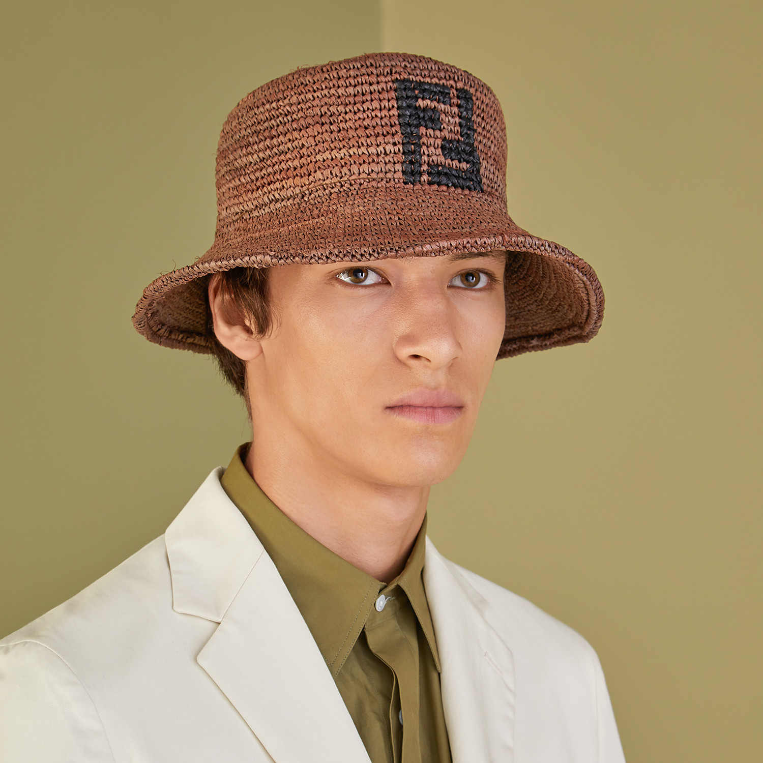 FENDI HAT - Brown raffia bucket hat - view 3 detail