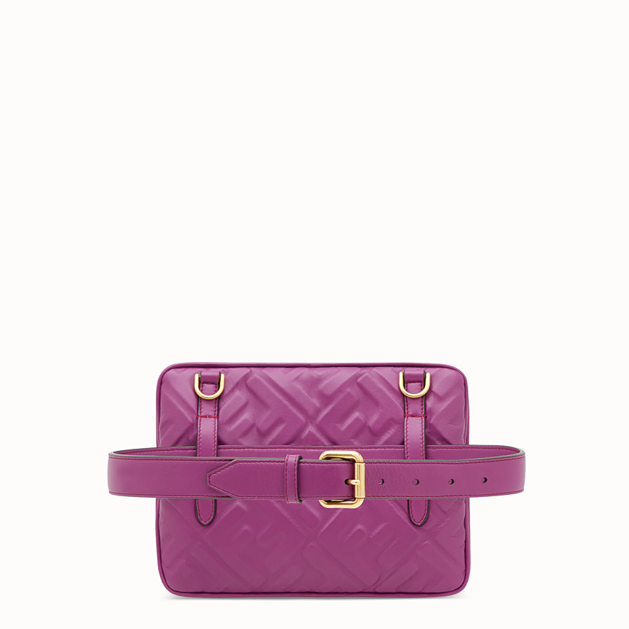 FENDI UPSIDE DOWN - Purple leather bag - view 3 detail