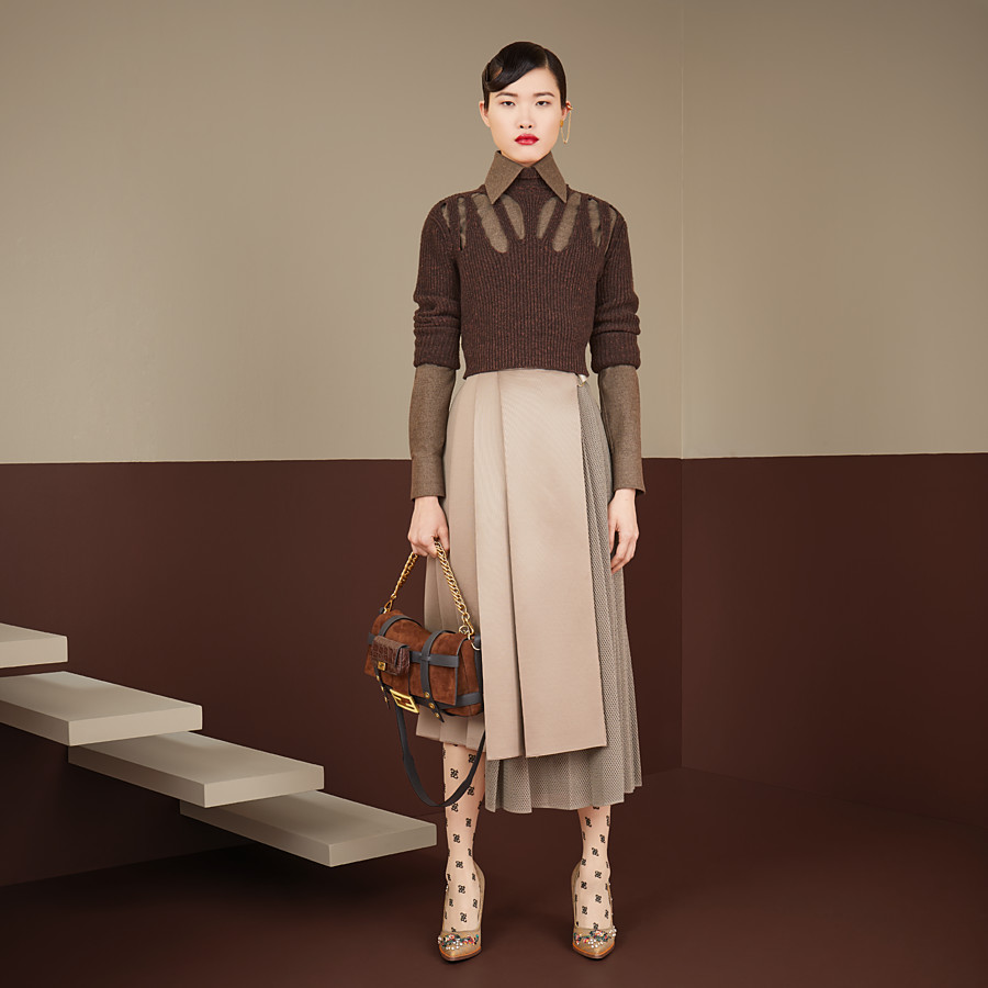 FENDI SKIRT - Beige jersey skirt - view 4 detail