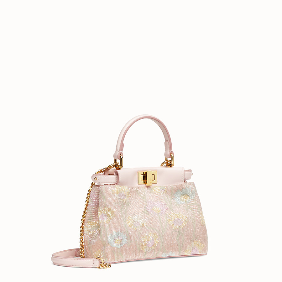 FENDI PEEKABOO ICONIC XS - Mini-bag with pink embroidery decoration - view 3 detail