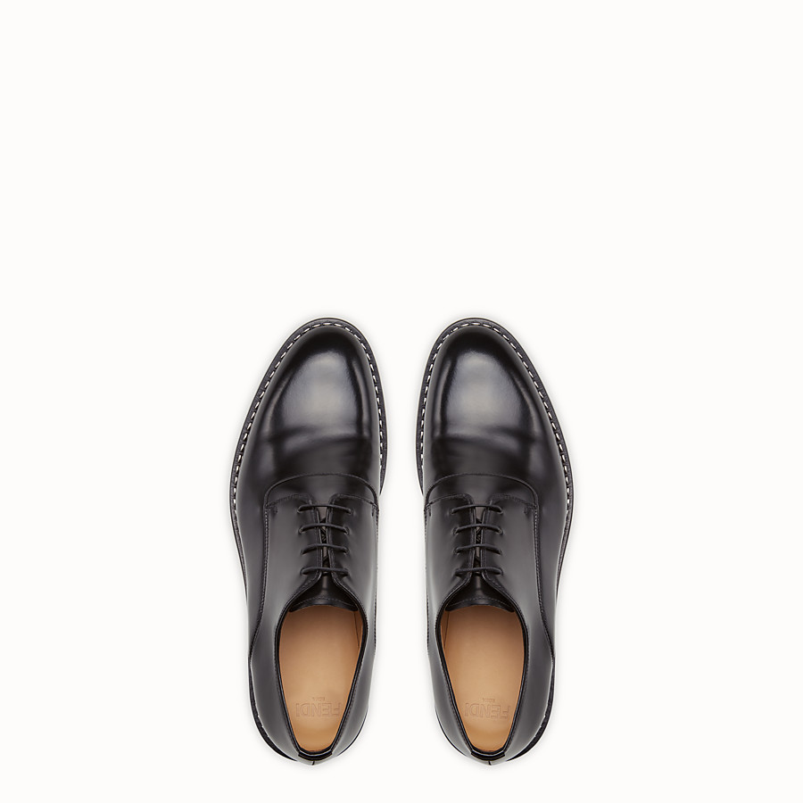 FENDI LACE-UPS - in black leather with metallic stitching - view 4 detail