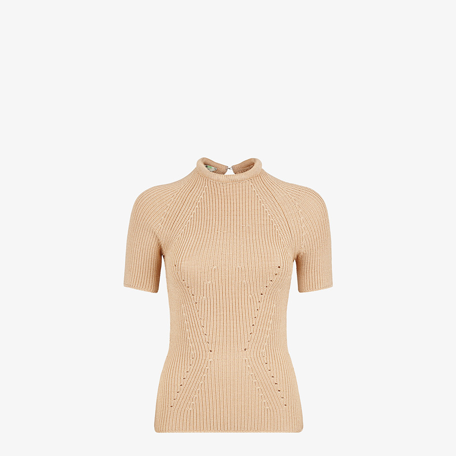 FENDI SWEATER - Sweater in beige silk - view 1 detail