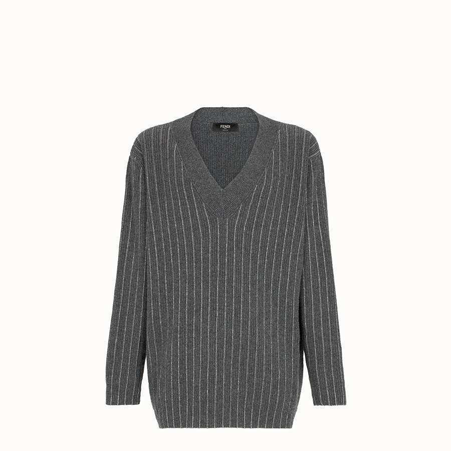 FENDI PULLOVER - Gray cashmere sweater - view 1 detail