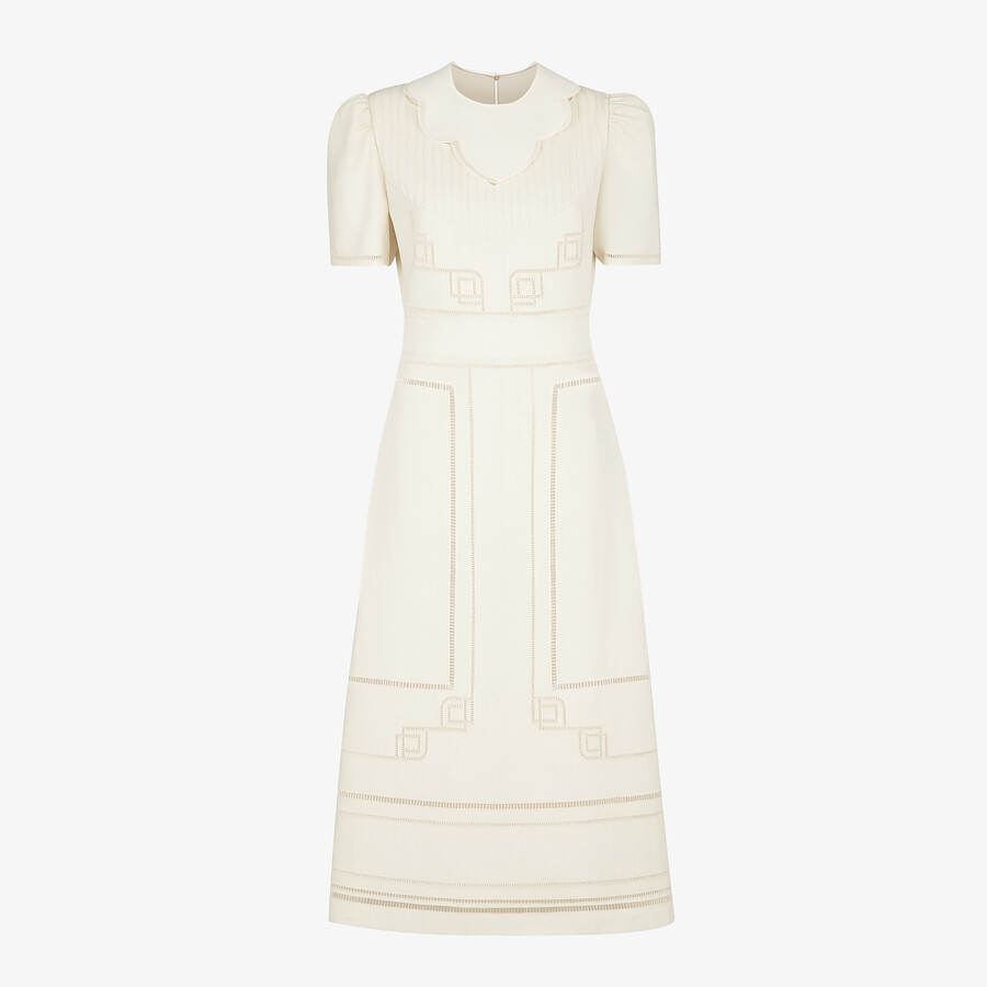 FENDI DRESS - White linen dress - view 1 detail