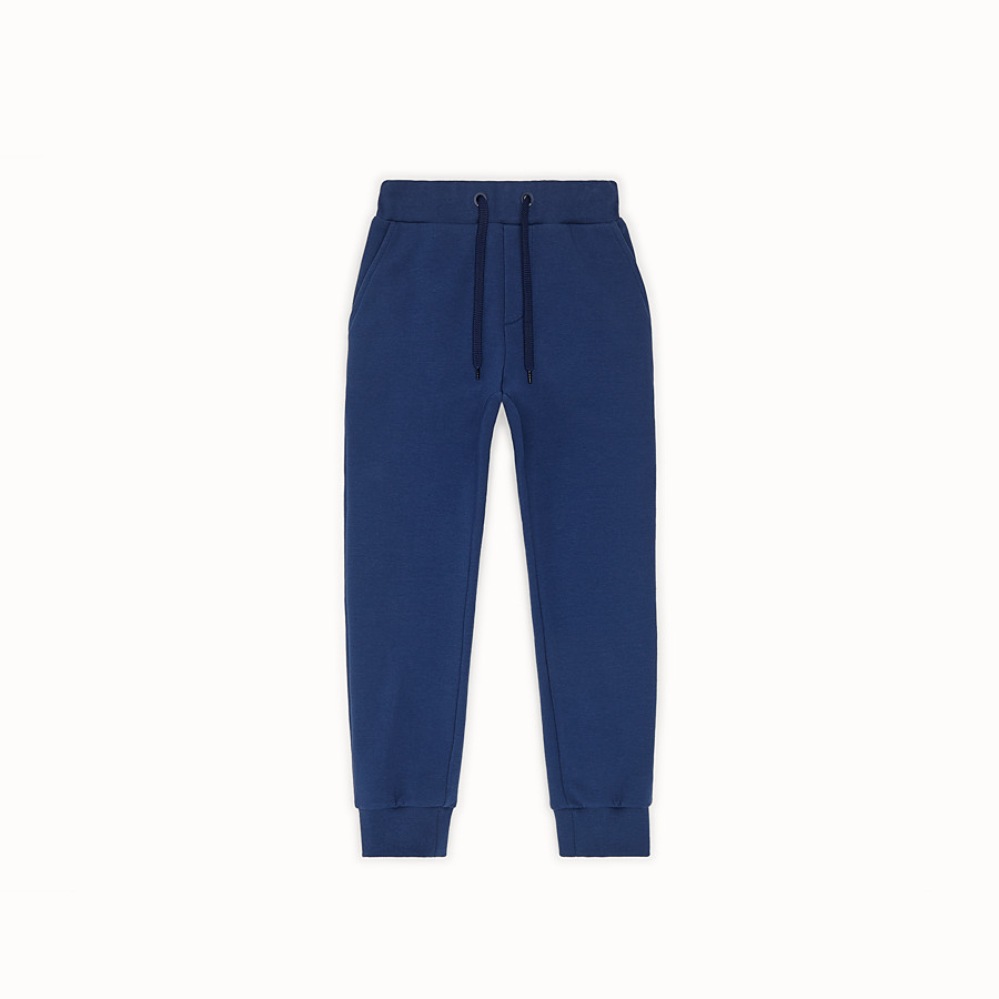 FENDI TROUSERS - Blue sweatshirt-fleece tracksuit trousers - view 1 detail