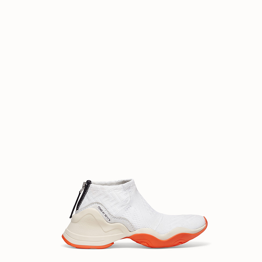 FENDI SNEAKERS - High-tech, white jacquard sneakers - view 1 detail