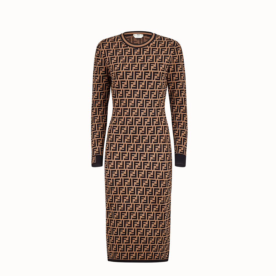 FENDI DRESS - Brown viscose dress - view 1 detail