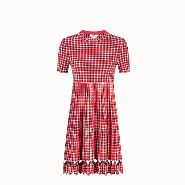 FENDI DRESS - Red checked fabric dress - view 1 small thumbnail