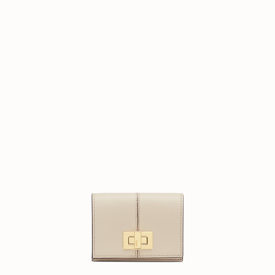 FENDI MICRO TRIFOLD - Portafoglio in pelle beige - vista 1 dettaglio