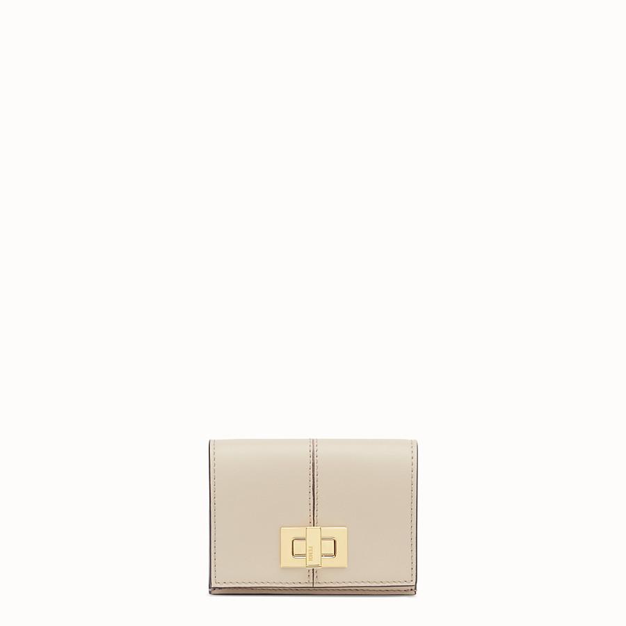 FENDI MICRO TRIFOLD - Portemonnaie aus Leder in Beige - view 1 detail