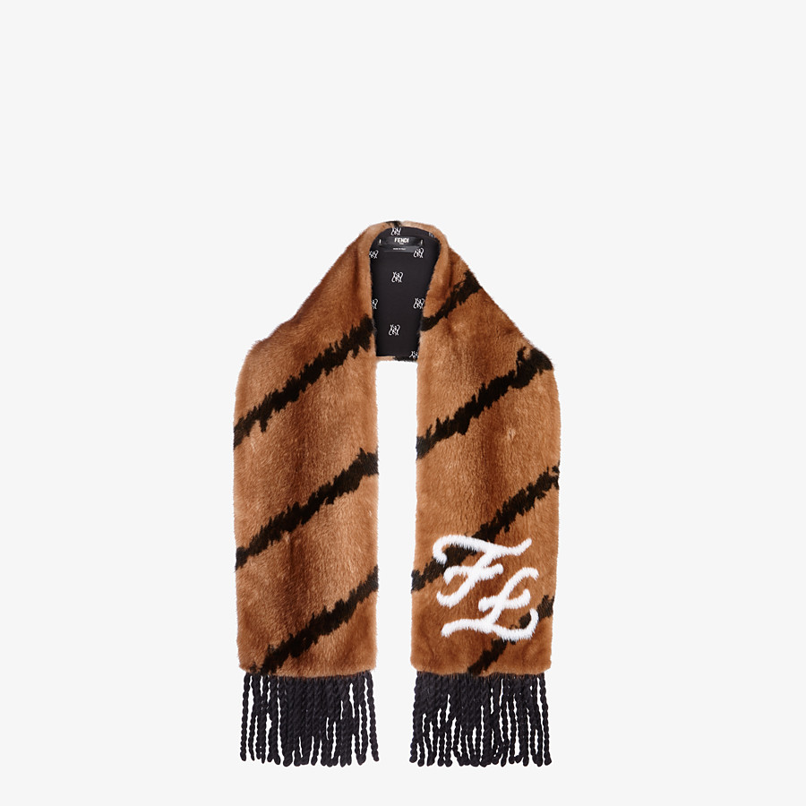FENDI SCARF - Brown mink scarf - view 2 detail