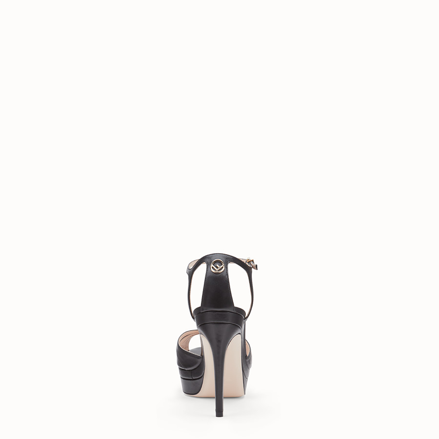 FENDI SANDALS - Black leather high sandals - view 3 detail