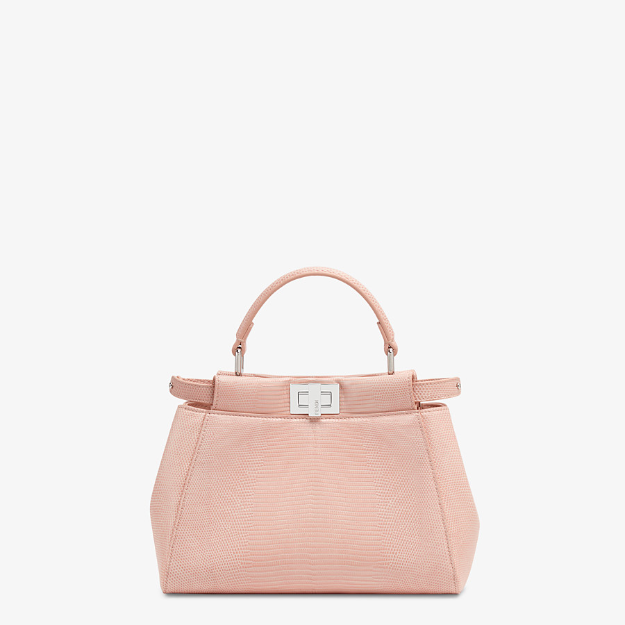 FENDI PEEKABOO ICONIC MINI - Pink lizard leather bag - view 1 detail