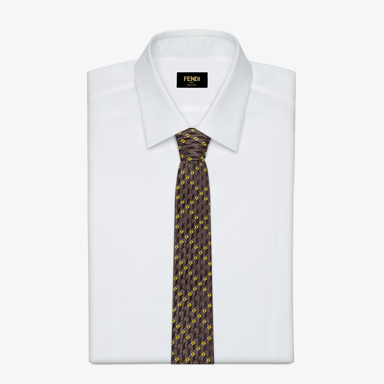 FENDI TIE - Brown silk tie - view 2 detail