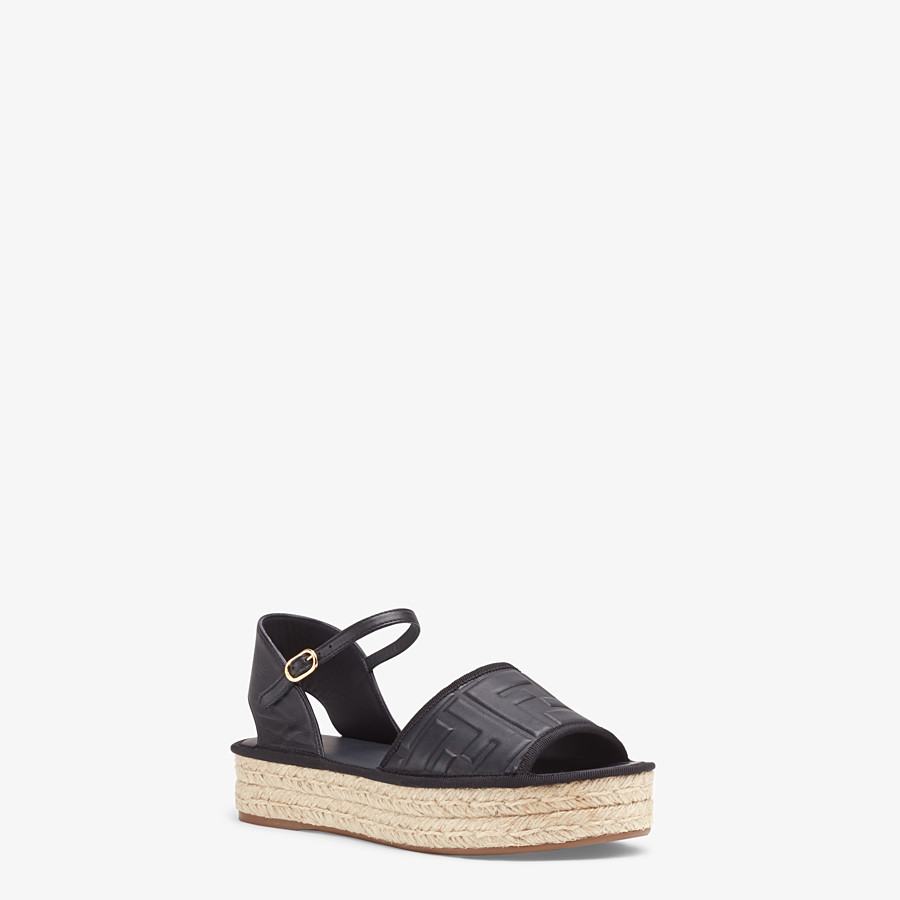FENDI ESPADRILLES - Black leather flatform espadrilles - view 2 detail