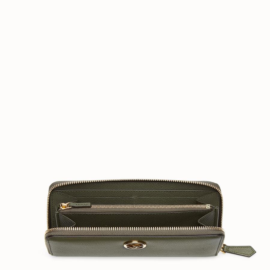 FENDI ZIP-AROUND - Green leather wallet - view 3 detail