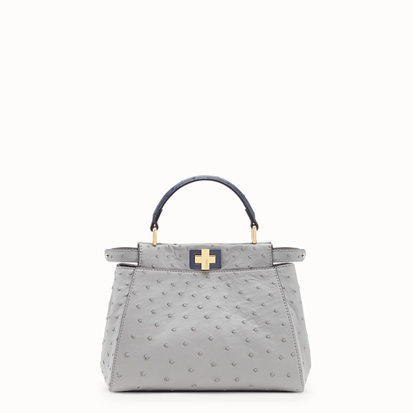 FENDI PEEKABOO MINI - White ostrich leather bag - view 1 small thumbnail