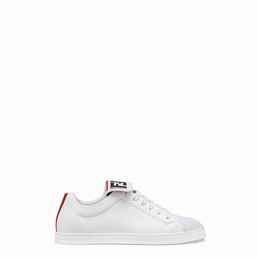 FENDI SNEAKERS - White mesh and leather low-tops - view 1 detail