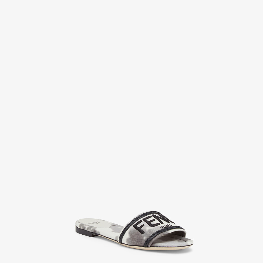 FENDI SIGNATURE SLIDES - Gray canvas slides - view 2 detail