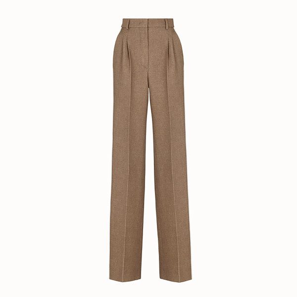 FENDI TROUSERS - Beige silk and wool trousers - view 1 small thumbnail