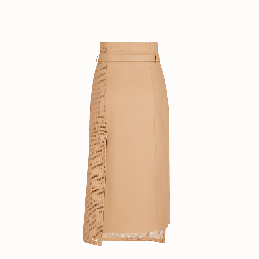 FENDI SKIRT - Beige nappa leather skirt - view 2 detail