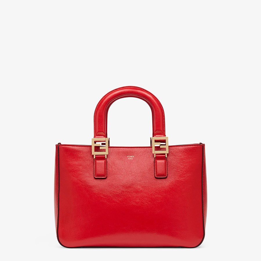 FENDI FF TOTE SMALL - Red leather bag - view 1 detail