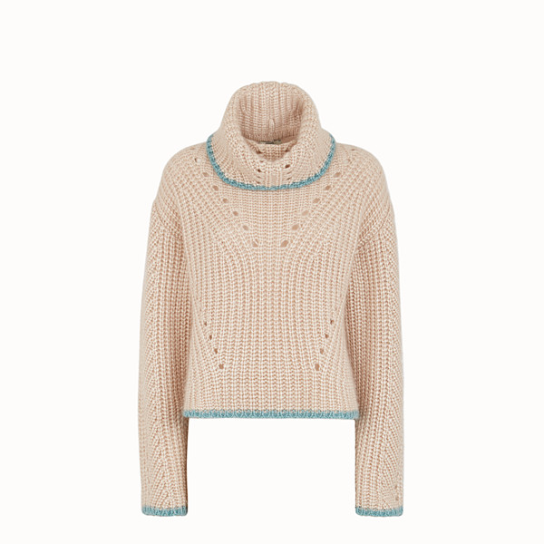 FENDI JUMPER - Beige cashmere jumper - view 1 small thumbnail