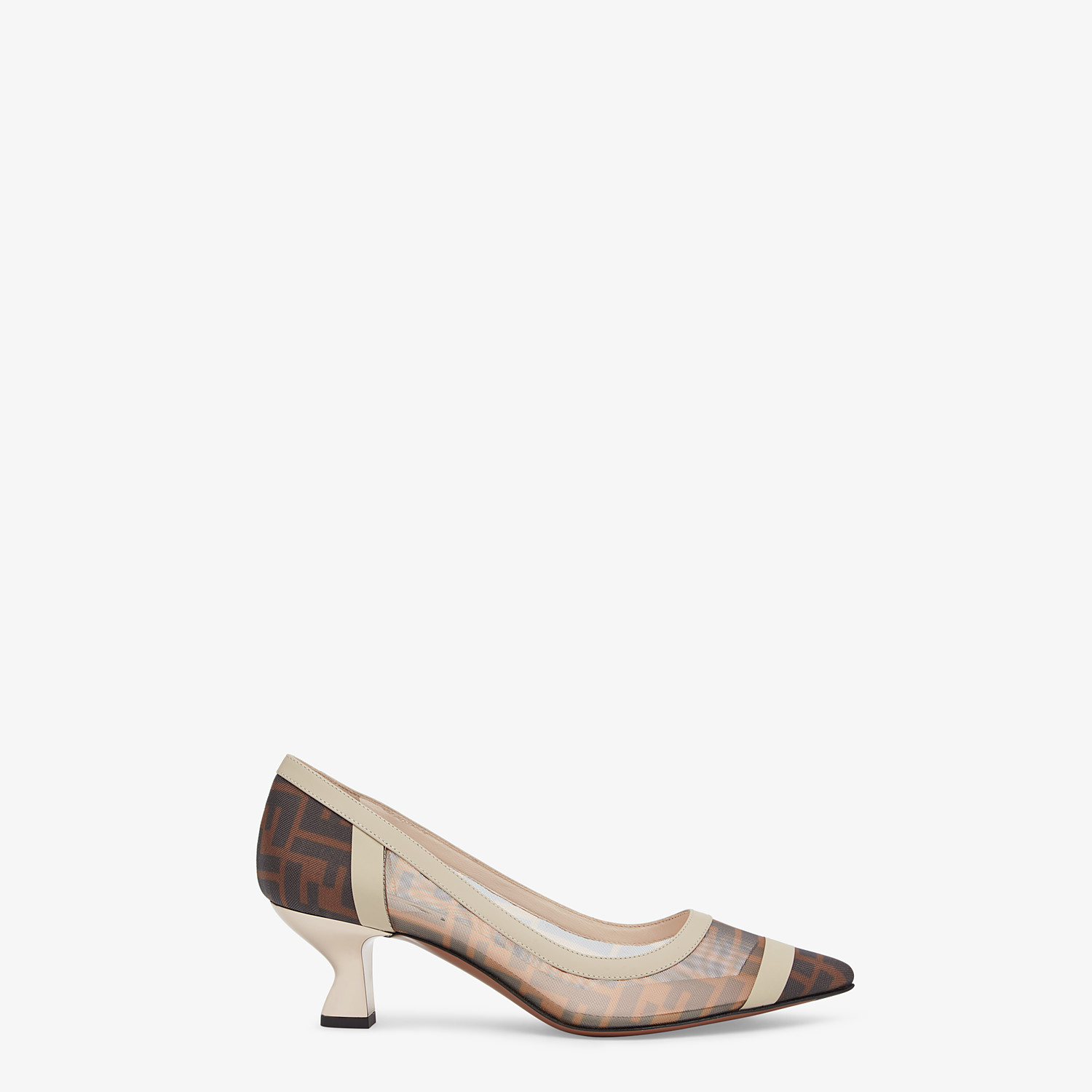FENDI SLINGBACK - Court shoes in mesh and brown leather - view 1 detail