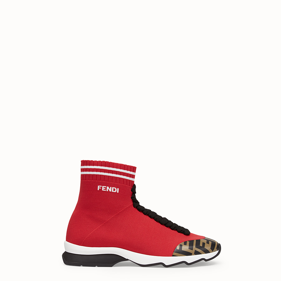 FENDI SNEAKERS - Red fabric sneaker boots - view 1 detail