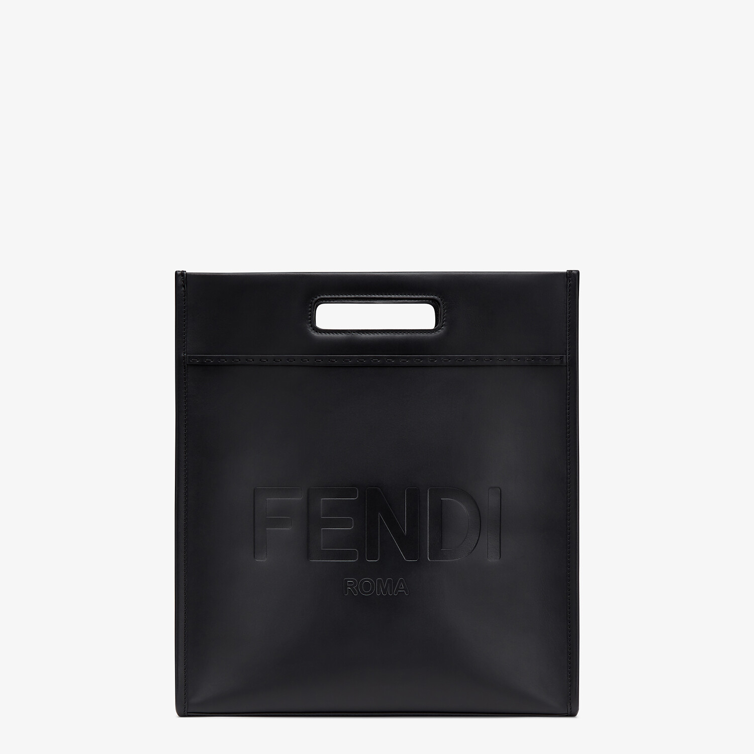 FENDI SHOPPING BAG - Black leather shopper - view 1 detail