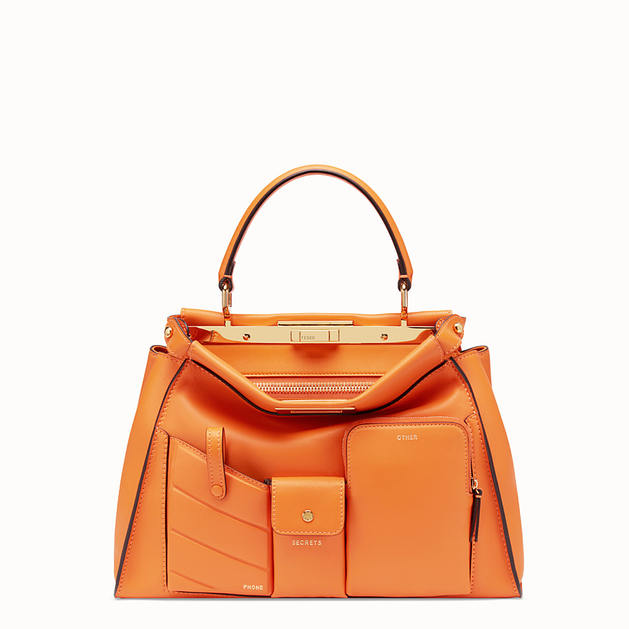 FENDI PEEKABOO REGULAR POCKET - Orange leather bag - view 1 detail