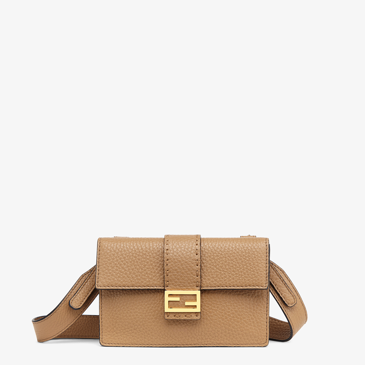 FENDI BAGUETTE POUCH - Beige leather bag - view 1 detail