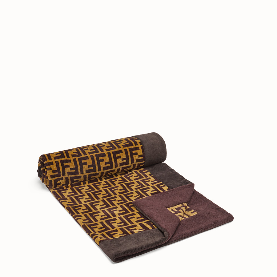 FENDI BEACH TOWEL - Brown cotton beach towel - view 2 detail