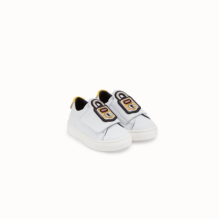 FENDI FIRST-STEPS SNEAKERS - White leather shoes - view 2 detail